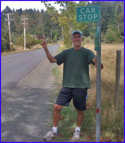 Bowen Island's Don Marshall using a Pender Island CAR STOP